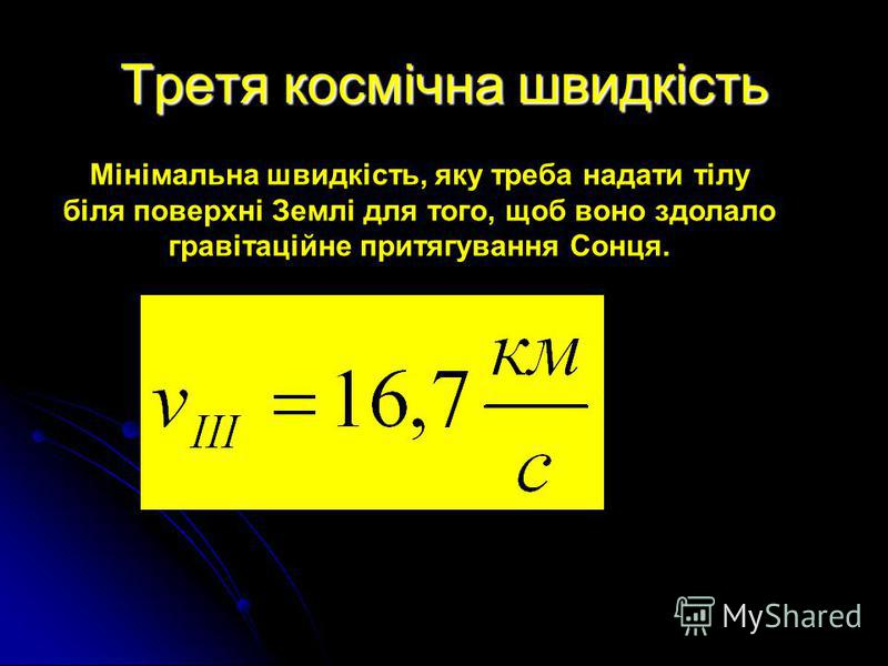 Третя космічна швидкість Мінімальна швидкість, яку треба надати тілу біля поверхні Землі для того, щоб воно здолало гравітаційне притягування Сонця.