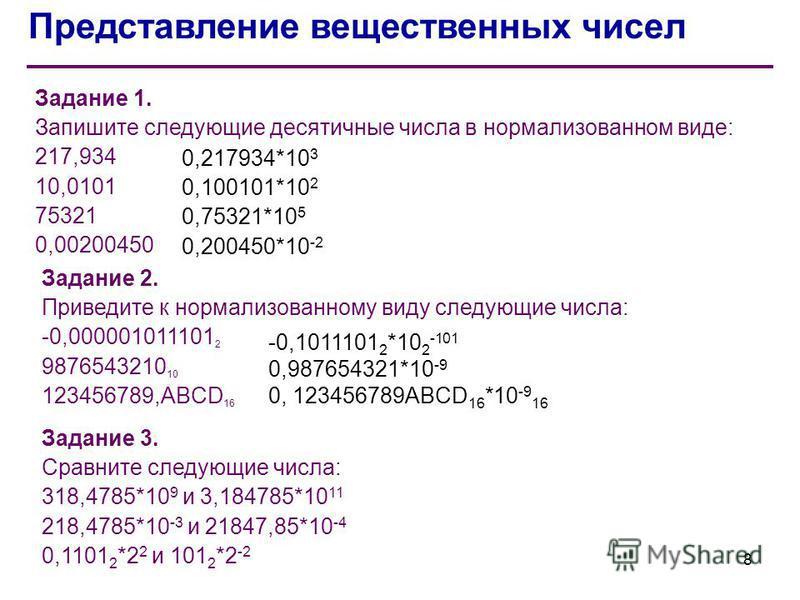 Представление вещественных чисел Задание 1. Запишите следующие десятичные числа в нормализованном виде: 217,934 10,0101 75321 0,00200450 Задание 2. Приведите к нормализованному виду следующие числа: -0,000001011101 2 9876543210 10 123456789,ABCD 16 З