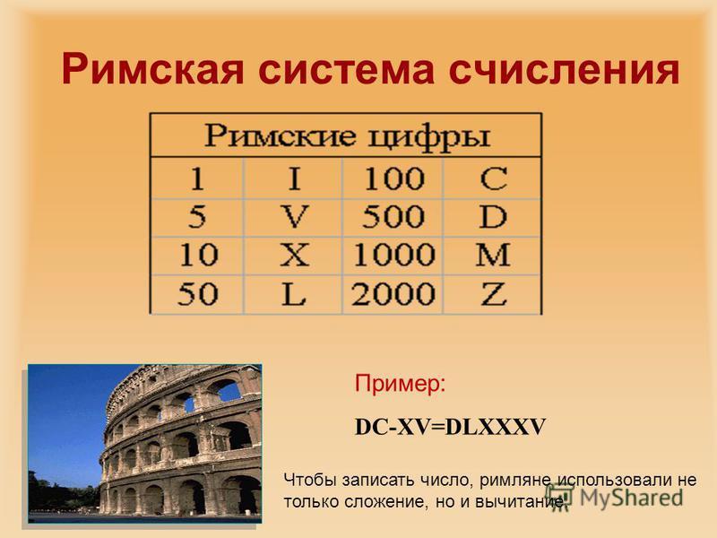 Пример: DC-XV=DLXXXV Чтобы записать число, римляне использовали не только сложение, но и вычитание.