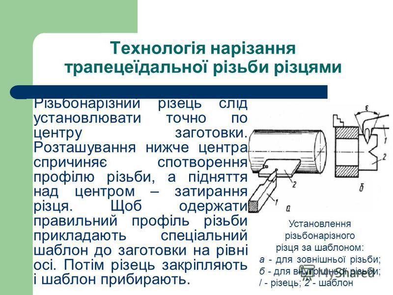 Технологія нарізання трапецеїдальної різьби різцями Різьбонарізний різець слід установлювати точно по центру заготовки. Розташування нижче центра спричиняє спотворення профілю різьби, а підняття над центром – затирання різця. Щоб одержати правильний