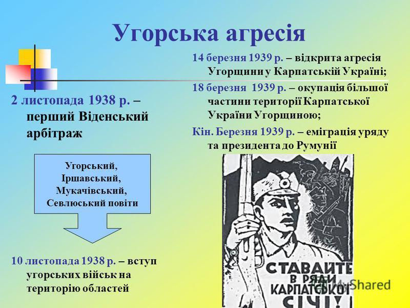 Угорська агресія 2 листопада 1938 р. – перший Віденський арбітраж 10 листопада 1938 р. – вступ угорських військ на територію областей 14 березня 1939 р. – відкрита агресія Угорщини у Карпатській Україні; 18 березня 1939 р. – окупація більшої частини