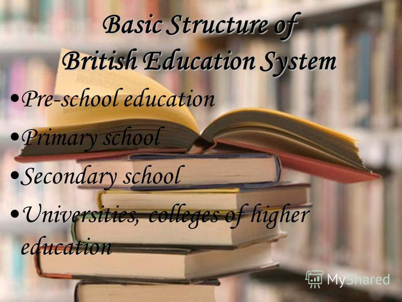 Pre-school education Primary school Secondary school Universities, colleges of higher education Basic Structure of British Education System