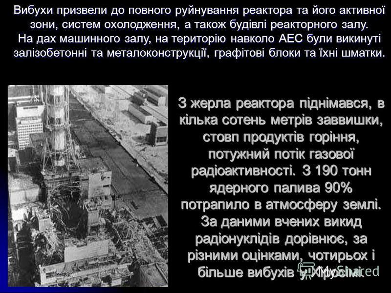 З жерла реактора піднімався, в кілька сотень метрів заввишки, стовп продуктів горіння, потужний потік газової радіоактивності. З 190 тонн ядерного палива 90% потрапило в атмосферу землі. За даними вчених викид радіонуклідів дорівнює, за різними оцінк