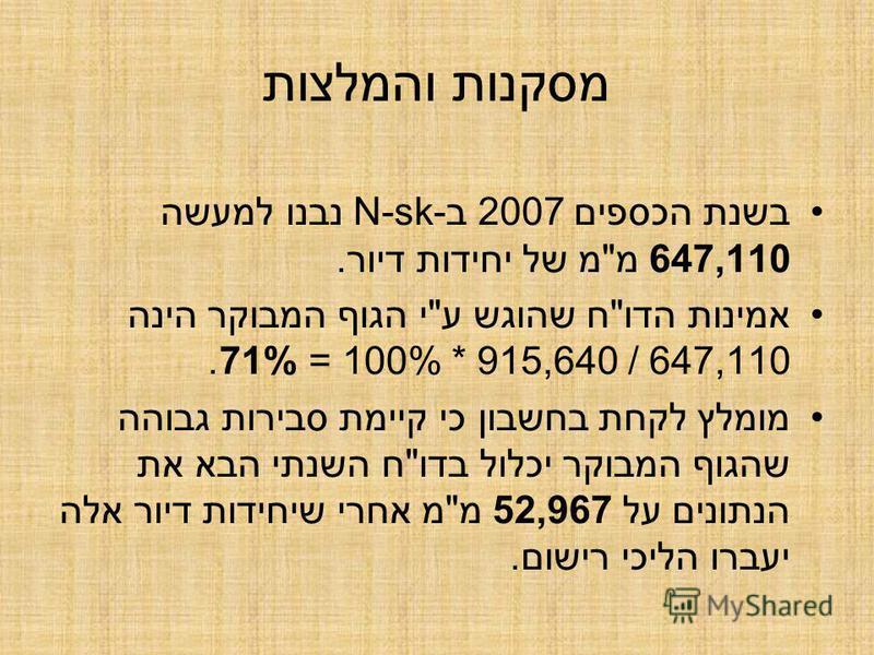 מסקנות והמלצות בשנת הכספים 2007 ב-N-sk נבנו למעשה 647,110 מ