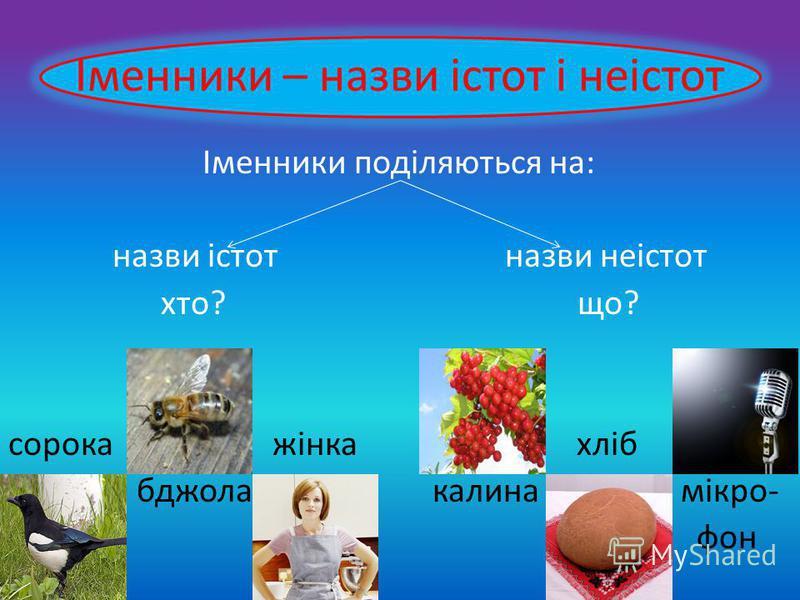 Іменники – назви істот і неістот Іменники поділяються на: назви істот назви неістот хто? що? сорока жінка хліб бджола калина мікро- фон