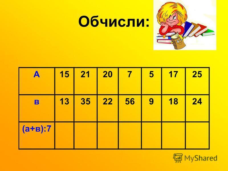 Обчисли: А152120751725 в1335225691824 (а+в):7