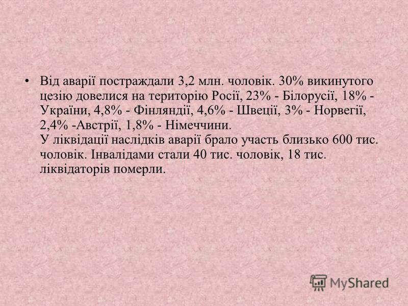 Від аварії постраждали 3,2 млн. чоловік. 30% викинутого цезію довелися на територію Росії, 23% - Білорусії, 18% - України, 4,8% - Фінляндії, 4,6% - Швеції, 3% - Норвегії, 2,4% -Австрії, 1,8% - Німеччини. У ліквідації наслідків аварії брало участь бли