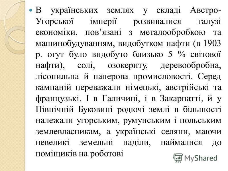 В українських землях у складі Австро- Угорської імперії розвивалися галузі економіки, повязані з металообробкою та машинобудуванням, видобутком нафти (в 1903 р. отут було видобуто близько 5 % світової нафти), солі, озокериту, деревообробна, лісопильн