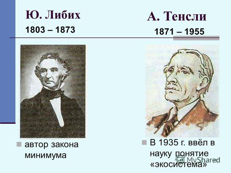 17 Ю. Либих автор закона минимума 1803 – 1873 А. Тенсли 1871 – 1955 В 1935 г. ввёл в науку понятие «экосистема»