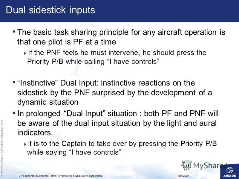 © AIRBUS S.A.S. All rights reserved. Confidential and proprietary document. April 2007Avoiding Hard Landings - 15th Performance & Operations conference Dual sidestick inputs The basic task sharing principle for any aircraft operation is that one pilo