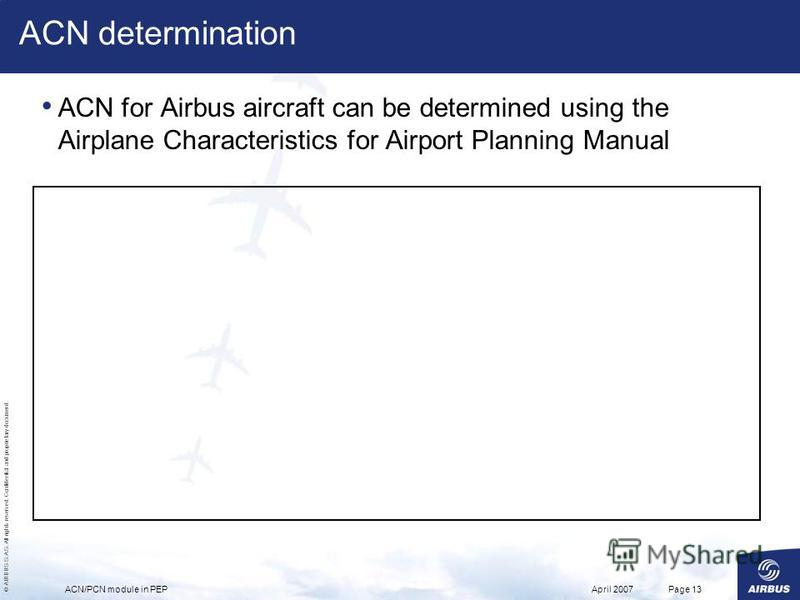© AIRBUS S.A.S. All rights reserved. Confidential and proprietary document. April 2007ACN/PCN module in PEPPage 13 ACN determination ACN for Airbus aircraft can be determined using the Airplane Characteristics for Airport Planning Manual