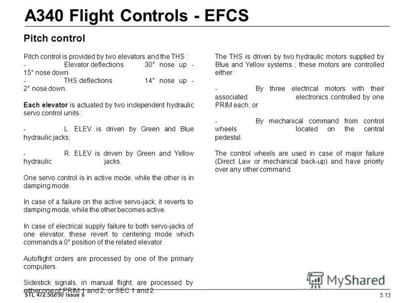 STL 472.502/90 Issue 6 A340 Flight Controls - EFCS 5.13 Pitch control Pitch control is provided by two elevators and the THS : - Elevator deflections 30° nose up - 15° nose down - THS deflections 14° nose up - 2° nose down. Each elevator is actuated
