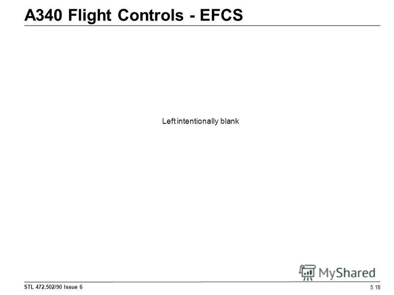 STL 472.502/90 Issue 6 A340 Flight Controls - EFCS 5.18 Left intentionally blank