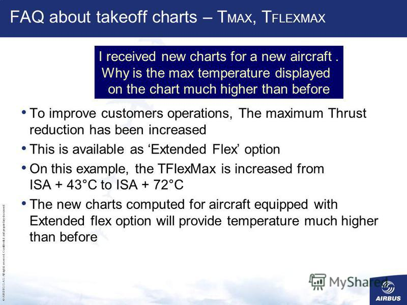 © AIRBUS S.A.S. All rights reserved. Confidential and proprietary document. FAQ about takeoff charts – T MAX, T FLEXMAX To improve customers operations, The maximum Thrust reduction has been increased This is available as Extended Flex option On this