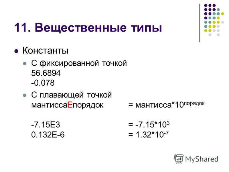 11. Вещественные типы Константы С фиксированной точкой 56.6894 -0.078 С плавающей точкой мантиссаEпорядок= мантисса*10 порядок -7.15E3= -7.15*10 3 0.132E-6= 1.32*10 -7