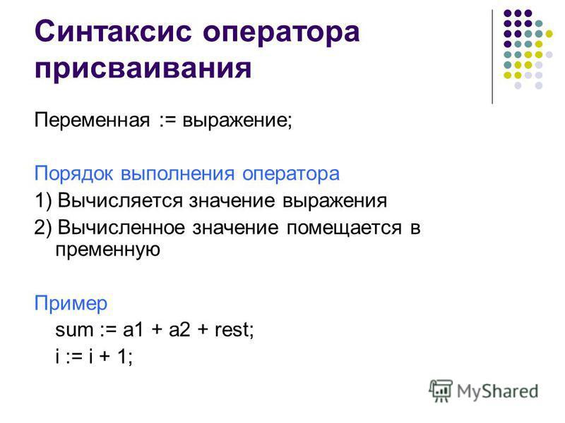 Синтаксис оператора присваивания Переменная := выражение; Порядок выполнения оператора 1) Вычисляется значение выражения 2) Вычисленное значение помещается в переменную Пример sum := a1 + a2 + rest; i := i + 1;