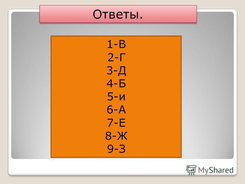 1-В 2-Г 3-Д 4-Б 5-и 6-А 7-Е 8-Ж 9-З Ответы.