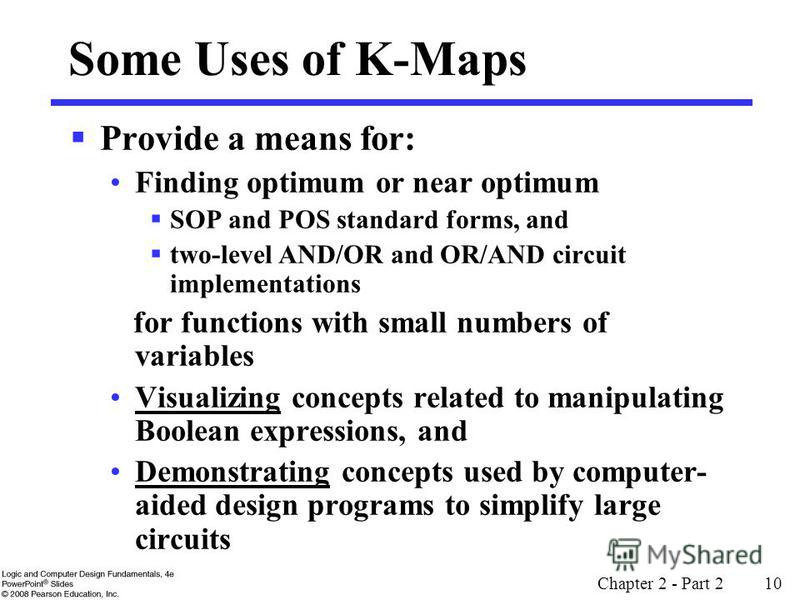 Chapter 2 - Part 2 10 Some Uses of K-Maps Provide a means for: Finding optimum or near optimum SOP and POS standard forms, and two-level AND/OR and OR/AND circuit implementations for functions with small numbers of variables Visualizing concepts rela