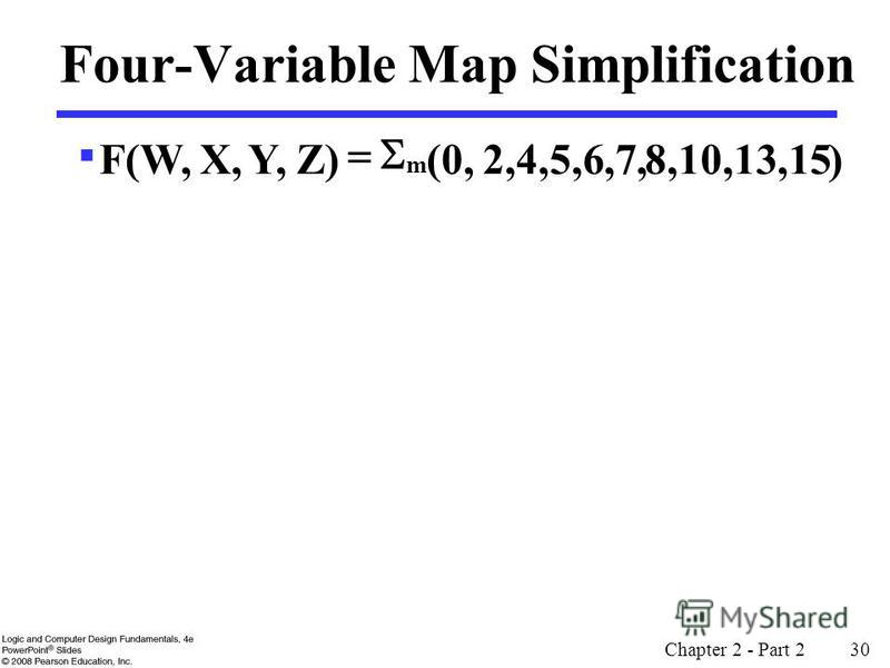 Chapter 2 - Part 2 30 Four-Variable Map Simplification )8,10,13,152,4,5,6,7, (0, Z)Y,X,F(W, m
