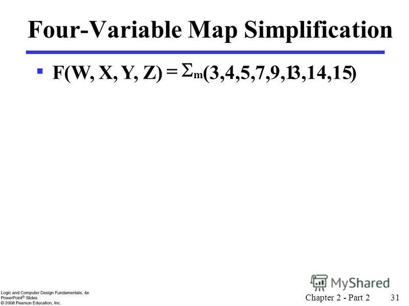 Chapter 2 - Part 2 31 3,14,15 Four-Variable Map Simplification )(3,4,5,7,9,1 Z)Y,X,F(W, m