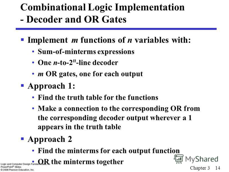 Chapter 3 14 Combinational Logic Implementation - Decoder and OR Gates Implement m functions of n variables with: Sum-of-minterms expressions One n-to-2 n -line decoder m OR gates, one for each output Approach 1: Find the truth table for the function