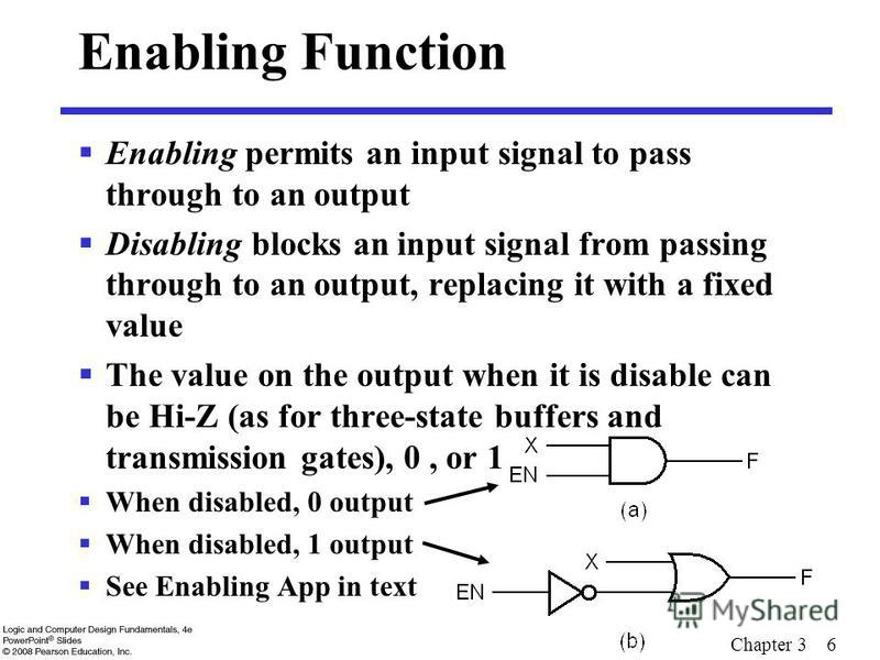 Chapter 3 6 Enabling Function Enabling permits an input signal to pass through to an output Disabling blocks an input signal from passing through to an output, replacing it with a fixed value The value on the output when it is disable can be Hi-Z (as