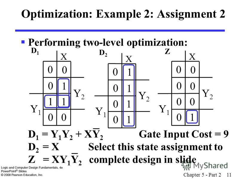 Chapter 5 - Part 2 11 Optimization: Example 2: Assignment 2 Performing two-level optimization: D 1 = Y 1 Y 2 + XY 2 Gate Input Cost = 9 D 2 = X Select this state assignment to Z = XY 1 Y 2 complete design in slide Y2Y2 Y1Y1 X 1 0 0 0 00 0 0 Y2Y2 Y1Y1