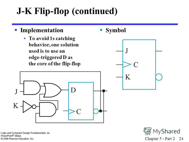 Chapter 5 - Part 2 24 J-K Flip-flop (continued) Implementation To avoid 1s catching behavior, one solution used is to use an edge-triggered D as the core of the flip-flop Symbol D C K J J C K