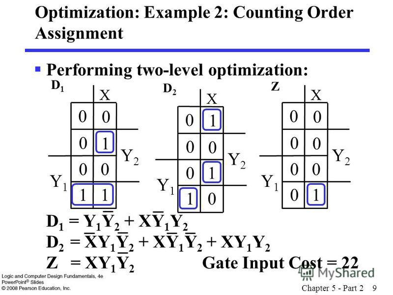 Chapter 5 - Part 2 9 Optimization: Example 2: Counting Order Assignment Performing two-level optimization: D 1 = Y 1 Y 2 + XY 1 Y 2 D 2 = XY 1 Y 2 + XY 1 Y 2 + XY 1 Y 2 Z = XY 1 Y 2 Gate Input Cost = 22 Y2Y2 Y1Y1 X 1 0 0 0 00 0 0 Y2Y2 Y1Y1 X 0 0 1 0