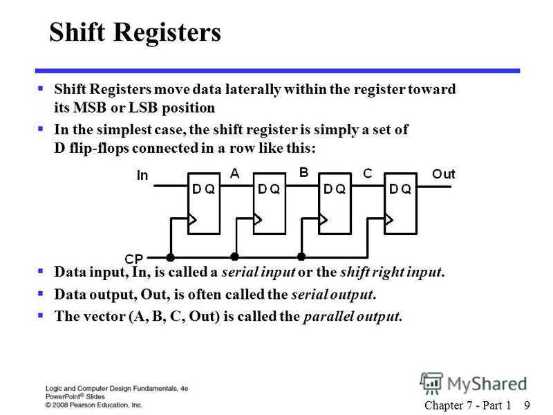 Chapter 7 - Part 1 9 Shift Registers Shift Registers move data laterally within the register toward its MSB or LSB position In the simplest case, the shift register is simply a set of D flip-flops connected in a row like this: Data input, In, is call