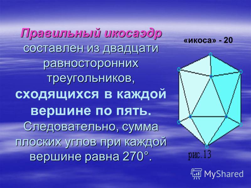 Правильный икосаэдр составлен из двадцати равносторонних треугольников, Следовательно, сумма плоских углов при каждой вершине равна 270°. Правильный икосаэдр составлен из двадцати равносторонних треугольников, сходящихся в каждой вершине по пять. Сле
