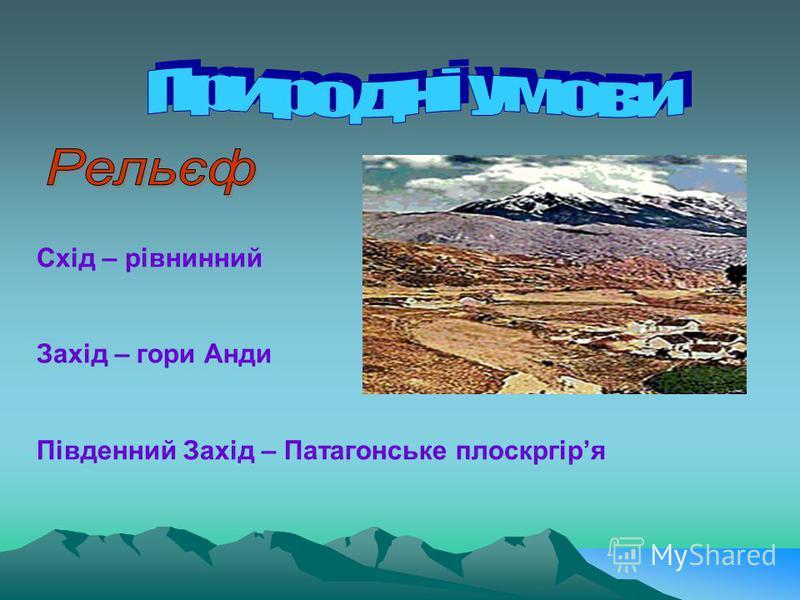 Схід – рівнинний Захід – гори Анди Південний Захід – Патагонське плоскргіря