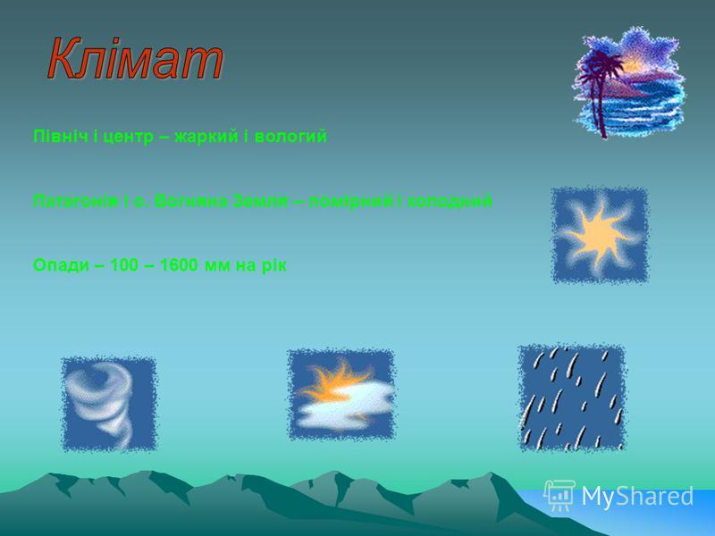 Північ і центр – жаркий і вологий Патагонія і о. Вогняна Земля – помірний і холодний Опади – 100 – 1600 мм на рік
