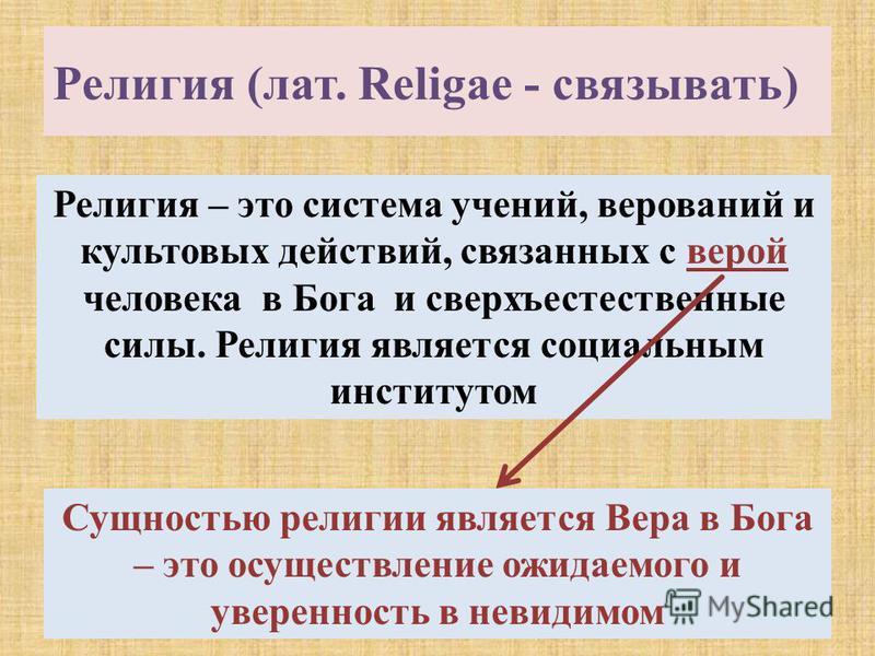 Религия (лат. Religae - связывать) Религия – это система учений, верований и культовых действий, связанных с верой человека в Бога и сверхъестественные силы. Религия является социальным институтом Сущностью религии является Вера в Бога – это осуществ