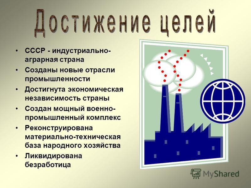 СССР - индустриально- аграрная страна Созданы новые отрасли промышленности Достигнута экономическая независимость страны Создан мощный военно- промышленный комплекс Реконструирована материально-техническая база народного хозяйства Ликвидирована безра