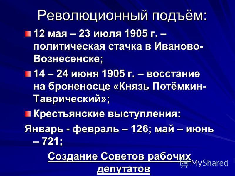 Революционный подъём: 12 мая – 23 июля 1905 г. – политическая стачка в Иваново- Вознесенске; 14 – 24 июня 1905 г. – восстание на броненосце «Князь Потёмкин- Таврический»; Крестьянские выступления: Январь - февраль – 126; май – июнь – 721; Создание Со