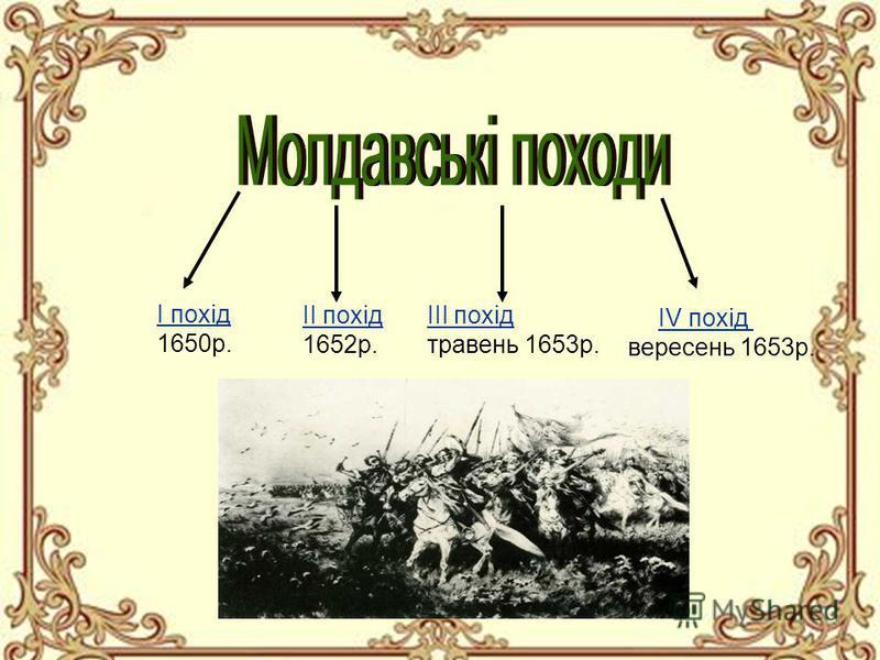 І похід 1650р. ІІ похід 1652р. ІІІ похід травень 1653р. ІV похід вересень 1653р.