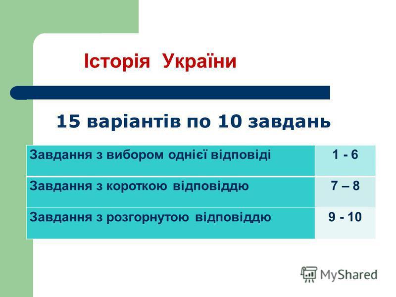Історія України Завдання з вибором однієї відповіді1 - 6 Завдання з короткою відповіддю7 – 8 Завдання з розгорнутою відповіддю9 - 10 15 варіантів по 10 завдань