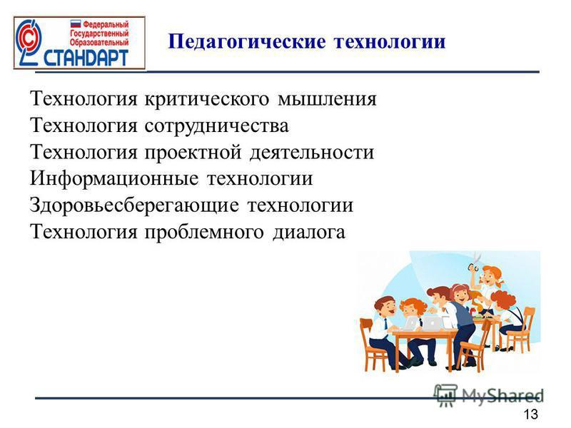 13 Педагогические технологии Технология критического мышления Технология сотрудничества Технология проектной деятельности Информационные технологии Здоровьесберегающие технологии Технология проблемного диалога