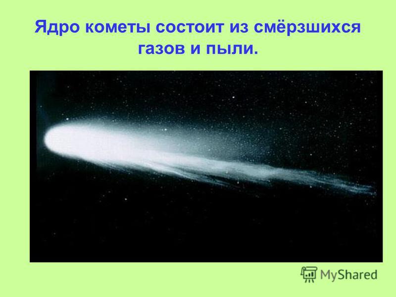 Ядро кометы состоит из смёрзшихся газов и пыли.
