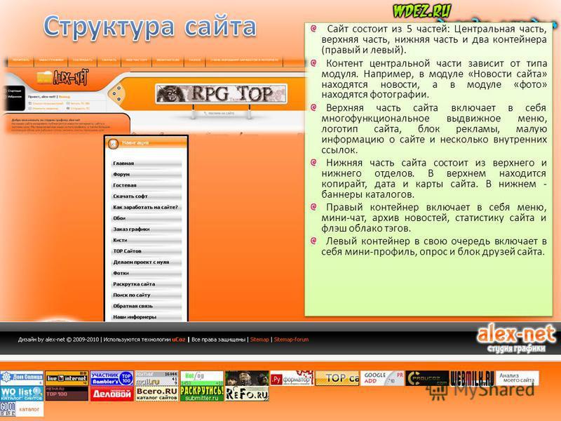Сайт состоит из 5 частей: Центральная часть, верхняя часть, нижняя часть и два контейнера (правый и левый). Контент центральной части зависит от типа модуля. Например, в модуле «Новости сайта» находятся новости, а в модуле «фото» находятся фотографии