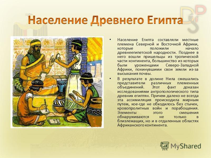 Население Египта составляли местные племена Северной и Восточной Африки, которые положили начало древнеегипетской народности. Позднее в него вошли пришельцы из тропической части континента, большинство из которых были уроженцами Северо-Западной Африк