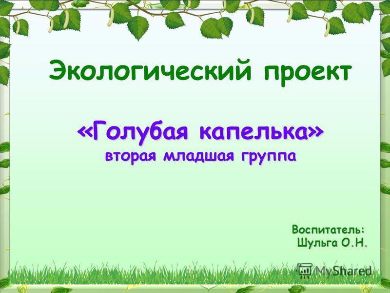 Экологический проект «Голубая капелька» вторая младшая группа Воспитатель: Шульга О.Н.