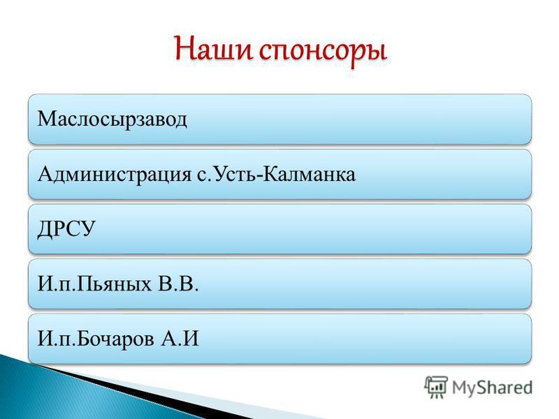 Маслосырзавод Администрация с.Усть-КалманкаДРСУИ.п.Пьяных В.В.И.п.Бочаров А.И