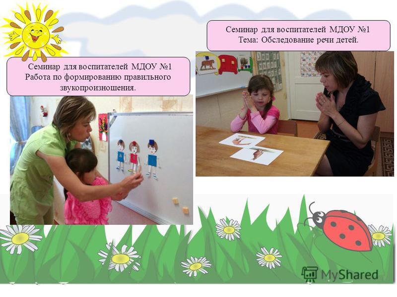 Семинар для воспитателей МДОУ 1 Работа по формированию правильного звукопроизношения. Семинар для воспитателей МДОУ 1 Тема: Обследование речи детей.