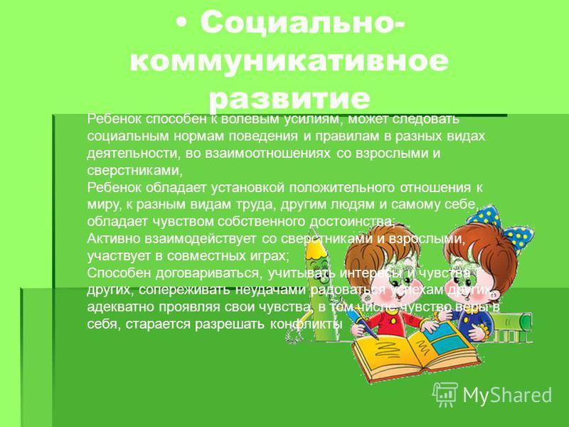 Социально- коммуникативное развитие Ребенок способен к волевым усилиям, может следовать социальным нормам поведения и правилам в разных видах деятельности, во взаимоотношениях со взрослыми и сверстниками, Ребенок обладает установкой положительного от