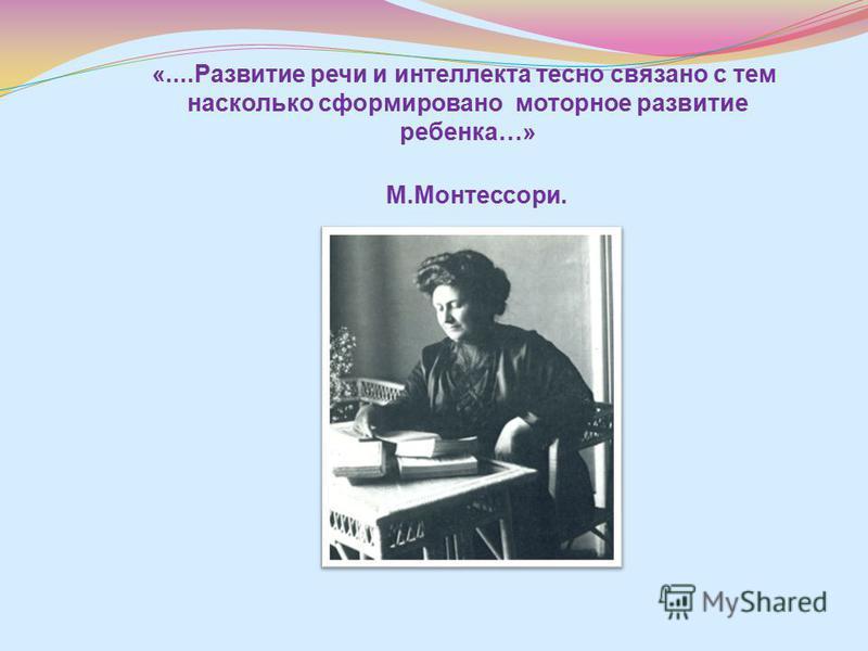 «....Развитие речи и интеллекта тесно связано с тем насколько сформировано моторное развитие ребенка…» М.Монтессори.
