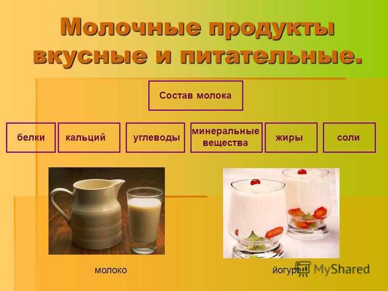 Молочные продукты вкусные и питательные. углеводы минеральные вещества жирысоликальцийбелки Состав молока молоко йогурт