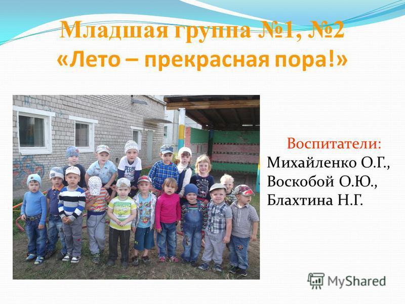 Младшая группа 1, 2 «Лето – прекрасная пора!» Воспитатели: Михайленко О.Г., Воскобой О.Ю., Блахтина Н.Г.