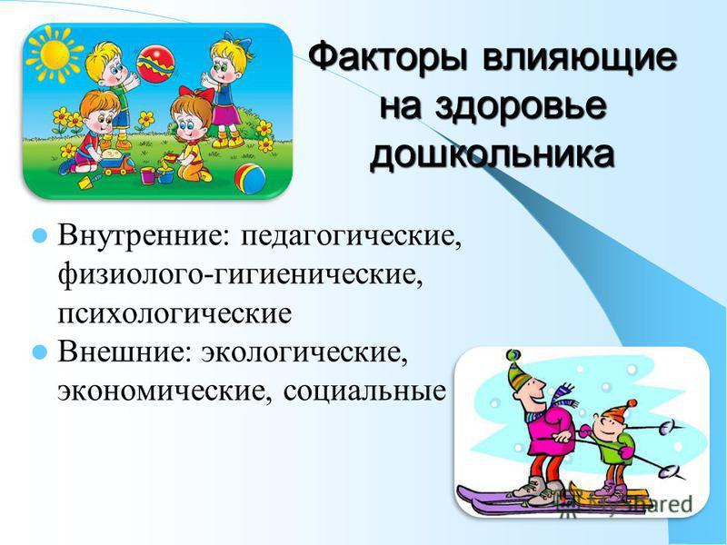 Факторы влияющие на здоровье дошкольника Внутренние: педагогические, физиолого-гигиенические, психологические Внешние: экологические, экономические, социальные